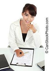 ritratto, affari, donne lavorare
