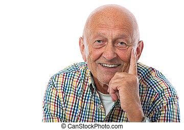 ritratto, anziano, felice, uomo