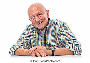 ritratto, anziano, sorridere felice, uomo