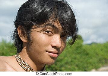 ritratto, asiatico, adolescente