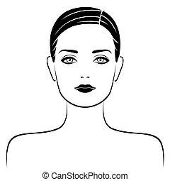 ritratto, astratto, attraente, femmina