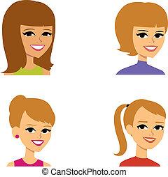 ritratto, avatar, cartone animato, illustrazione, donne