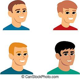 ritratto, avatar, cartone animato, illustrazione