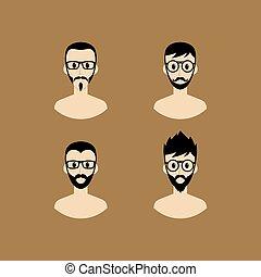 ritratto, avatar, cartone animato