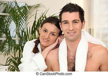 ritratto, bagno, coppia