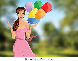 ritratto, balloon, donna