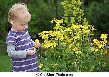 ritratto, bambino primi passi, giardino, felice