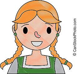 ritratto, bavarese, donna, carattere, cartone animato