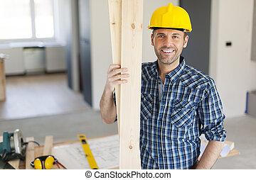 ritratto, bello, carpentiere, felice