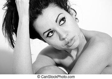ritratto, bianco, donna nera, bello