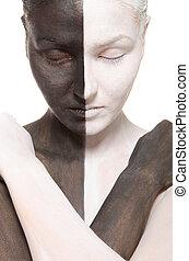 ritratto, bianco, donna, nero, trucco