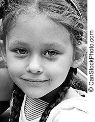 ritratto, bianco, nero, giovane ragazza