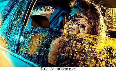 ritratto, biondo, stella, seduta, limousine