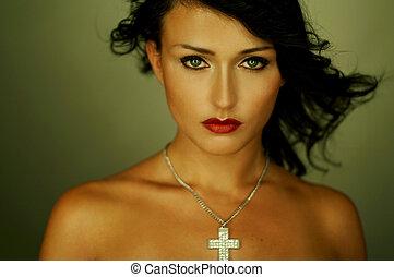 ritratto, brunetta, carino