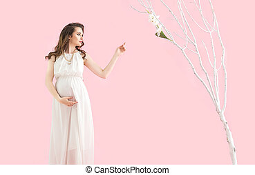 ritratto, brunetta, madre, incinta