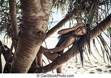 ritratto, brunetta, spiaggia, carino