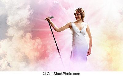 ritratto, cantante, femmina