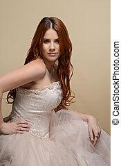 ritratto, capelli rossi, sposa, con, abito nunziale