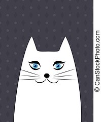 ritratto, carino, bianco, illustrazione, gatto