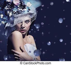 ritratto, carino, signora, diamanti