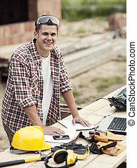 ritratto, carpentiere, giovane