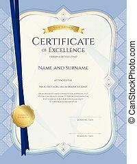 ritratto, certificato, di, realizzazione, sagoma, in, vettore, con, applicato, tailandese, arte, fondo, blu, colorare