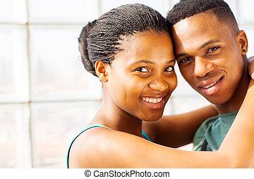 ritratto, coppia, africano, su, chiudere