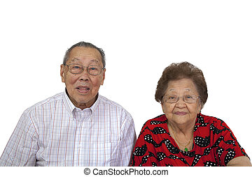 ritratto, coppia, asiatico, anziano