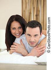 ritratto, coppia, camera letto