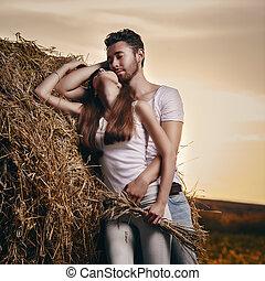 ritratto, coppia, campagna
