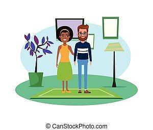 ritratto, coppia, carattere, avatar, cartone animato