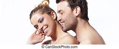 ritratto, coppia, closeup, giovane, felice