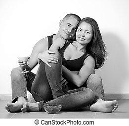ritratto, coppia, felice, amare