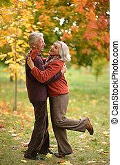 ritratto, coppia, felice, anziano, ballo