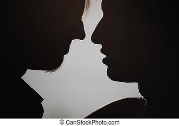 ritratto, coppia, felice, gaio, fuori