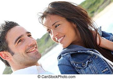 ritratto, coppia, giovane, felice
