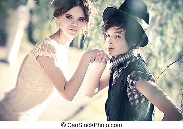 ritratto, coppia, giovane, romantico