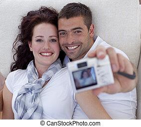 ritratto, coppia, macchina fotografica, gioco, digitale