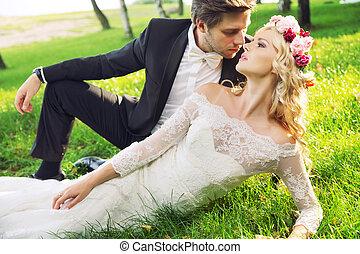 ritratto, coppia, matrimonio, romantico