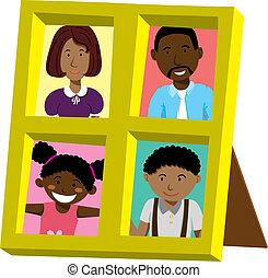 ritratto, cornice, famiglia, africano