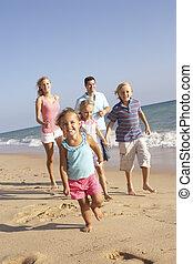 ritratto, correndo, vacanza, spiaggia, famiglia