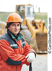 ritratto, costruttore, lavoratore costruzione