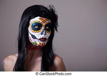 ritratto, cranio, zucchero, ragazza
