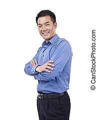 ritratto, di, asiatico, uomo affari