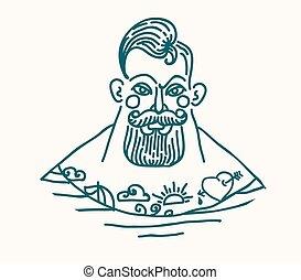 ritratto, di, barbuto, e, tatuato, marinaio
