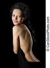 ritratto, di, bella donna, con, nudo, indietro
