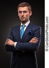 ritratto, di, bello, uomo affari, su, nero