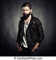 ritratto, di, bello, uomo, con, barba