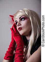 ritratto, di, cabaret, donna, con, rosso, brillare, trucco