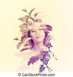 ritratto, di, donna, con, foglie